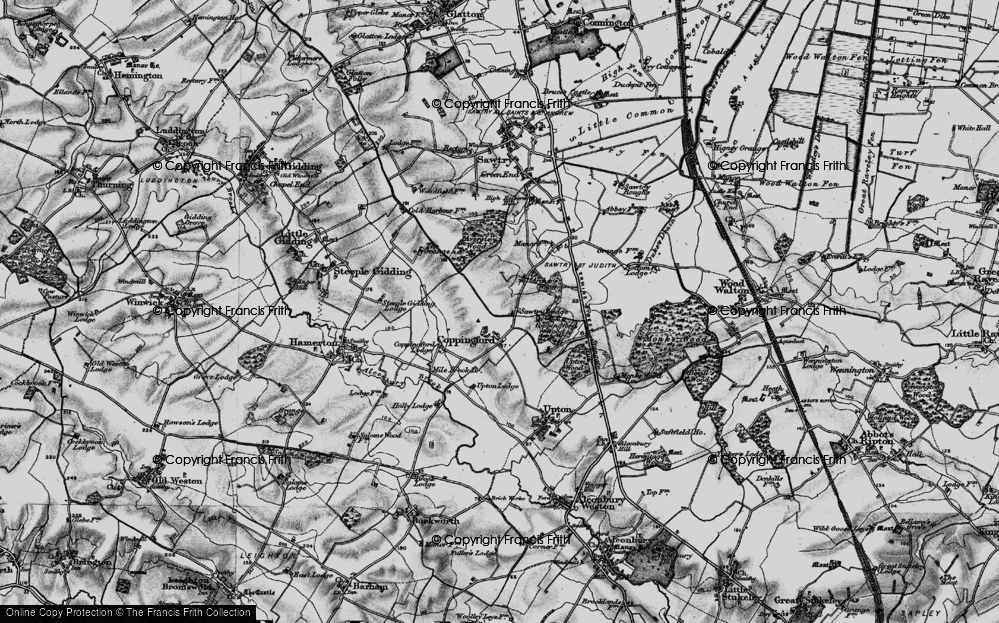 Old Map of Historic Map covering Aversley Wood in 1898