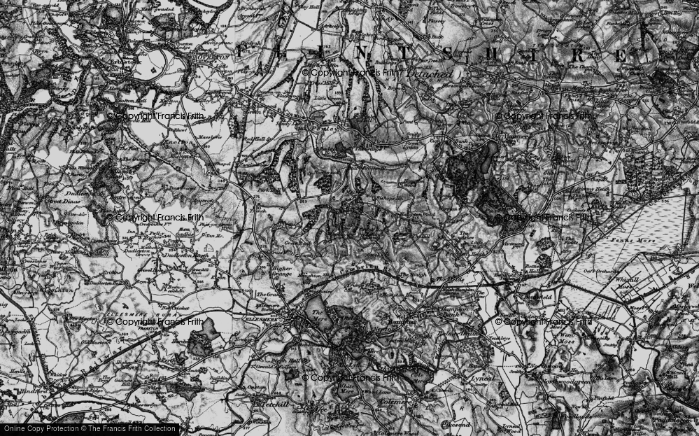 Old Map of Historic Map covering Lionlane Wood in 1897