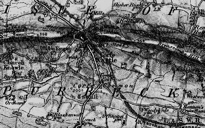 Old map of Corfe Castle in 1897