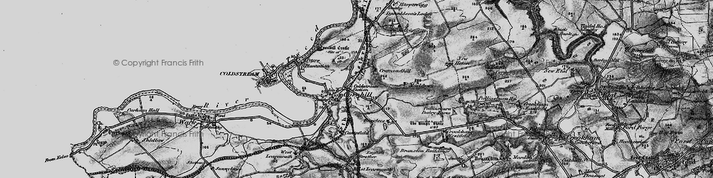 Old map of Cornhill on-Tweed in 1897