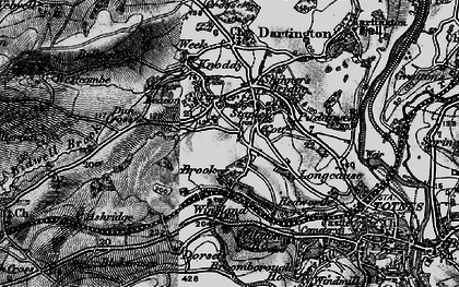 Old map of Yarner Beacon in 1898