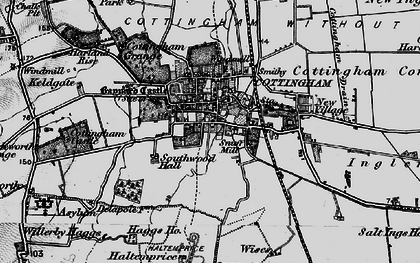 Old map of Cottingham in 1895