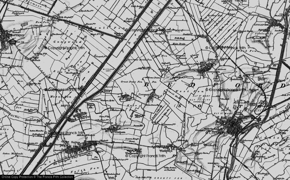 Old Map of Historic Map covering Ashwell Moor in 1898