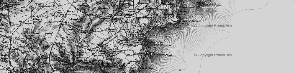 Old map of Coverack in 1895