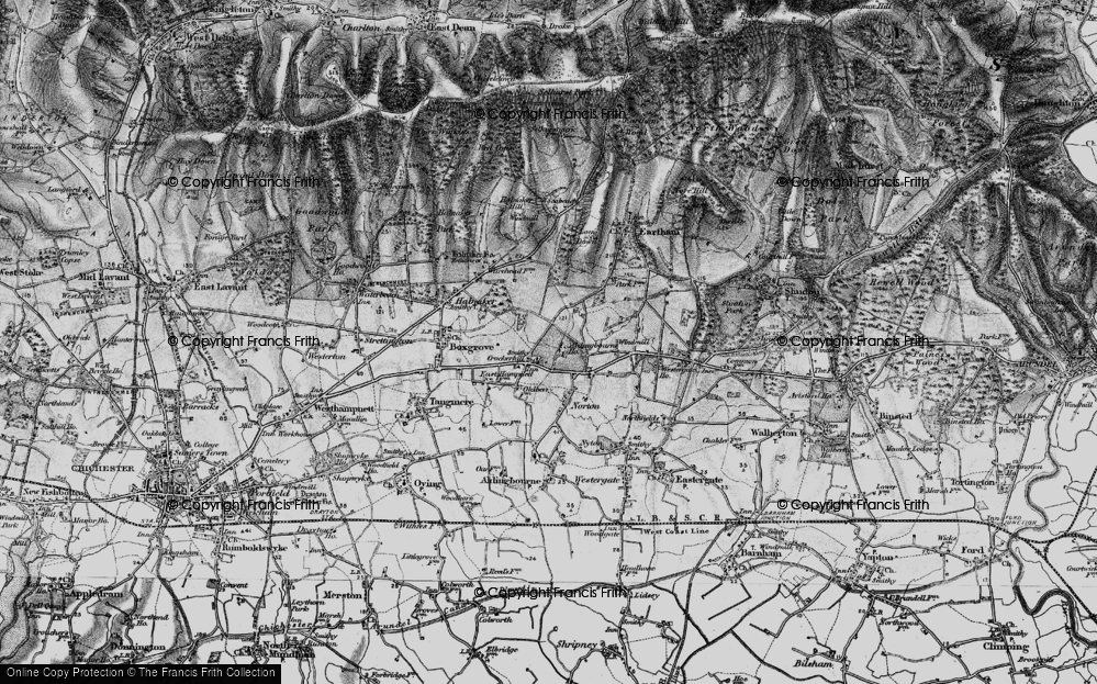 Old Map of Historic Map covering Aldingbourne Ho in 1895