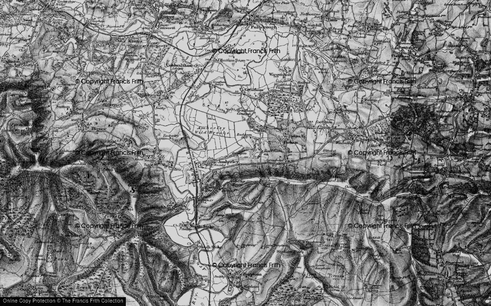 Old Map of Historic Map covering Amberley Mount in 1895