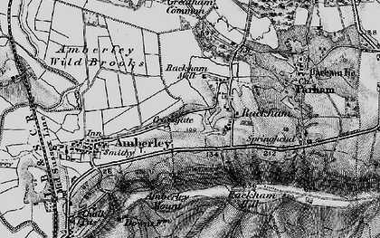 Old map of Amberley Mount (Tumuli) in 1895