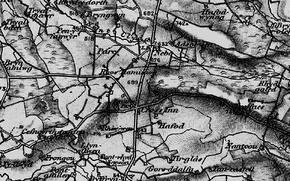 Old map of Afon Brân in 1898