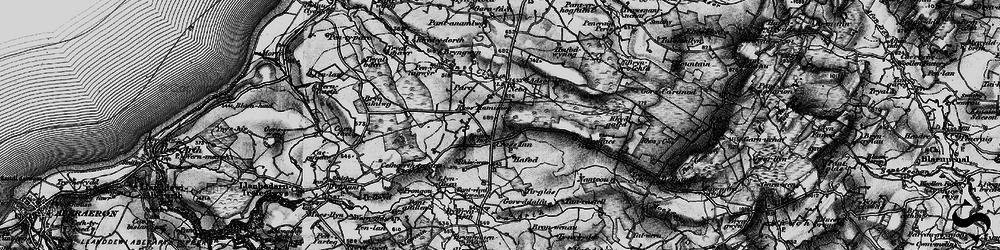 Old map of Afon Brân in 1898