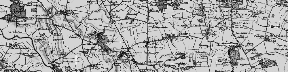 Old map of Tollerton Forest in 1898
