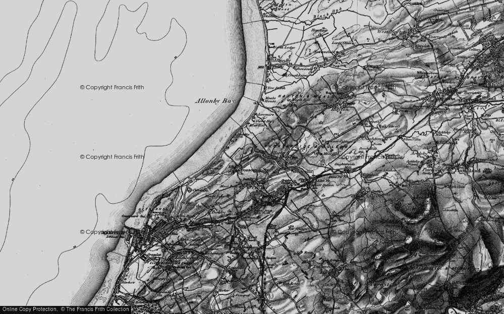 Old Map of Historic Map covering Allonby Bay in 1897