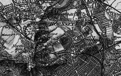 Old map of Crouch End in 1896