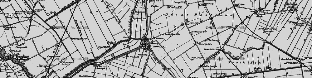 Old map of Crowland in 1898