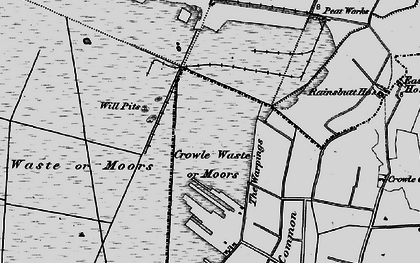 Old map of Crowle Waste in 1895