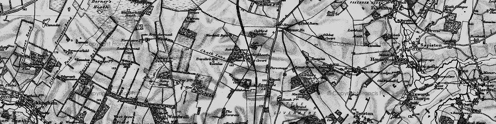 Old map of Wordwell Barn in 1898