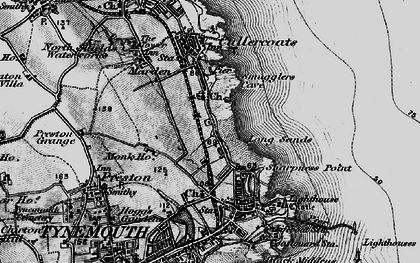 Old map of Cullercoats in 1897