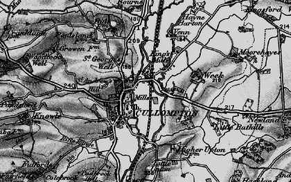 Old map of Cullompton in 1898