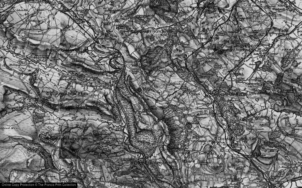 Old Map of Historic Map covering Wharncliffe Chase in 1896