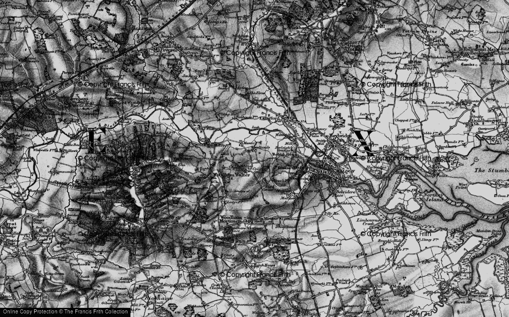 Old Map of Historic Map covering Woodlands in 1896