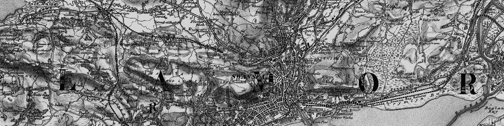 Old map of Cwmdu in 1897