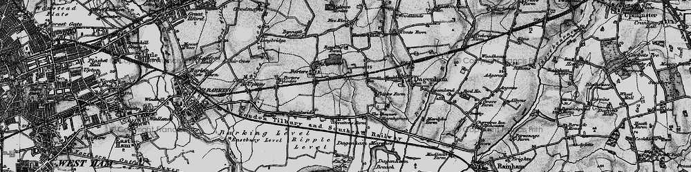 Old map of Dagenham in 1896