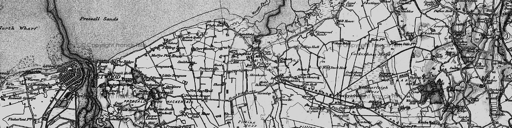 Old map of Lane Ends Amenity Area in 1896