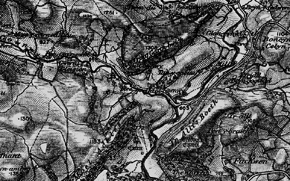 Old map of Afon Cownwy in 1899