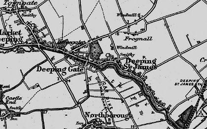 Old map of Deeping St James in 1898