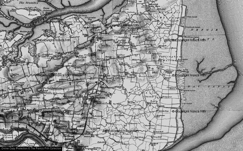 Old Map of Historic Map covering Asheldham Brook in 1895