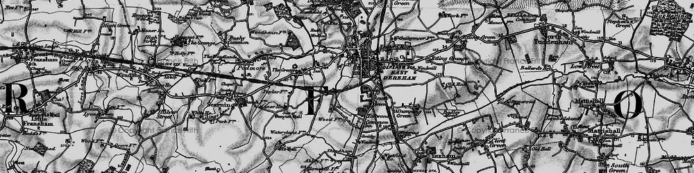 Old map of Dereham in 1898