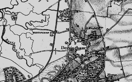 Old map of Dersingham in 1893