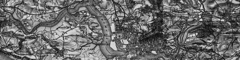Old map of Devonport in 1896