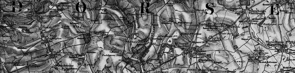 Old map of Whitelands Downs in 1898