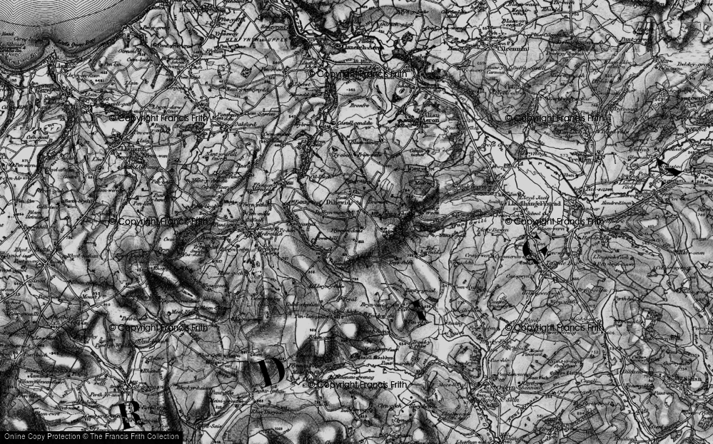 Old Map of Historic Map covering Afon Feinog in 1898