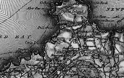 Old map of Dinas Cross in 1898