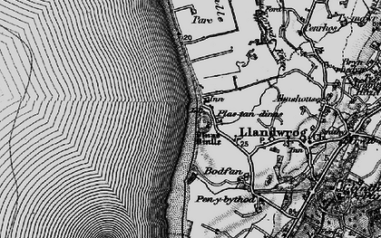 Old map of Dinas Dinlle in 1899