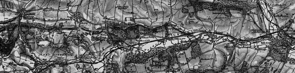Old map of Dinton in 1895