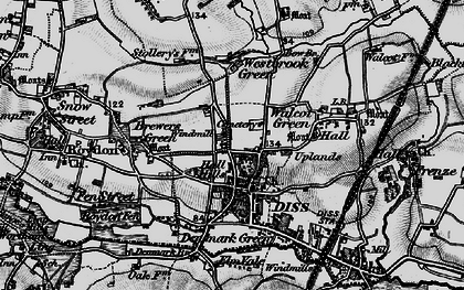 Old map of Diss in 1898