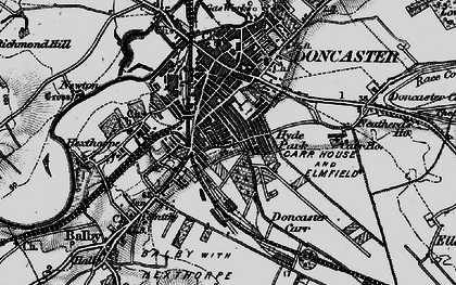 Old map of Doncaster in 1895