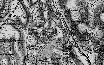 Old map of Dozmary Pool in 1895