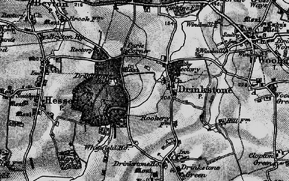 Old map of Drinkstone in 1898