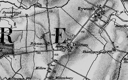 Old map of Dunton in 1896