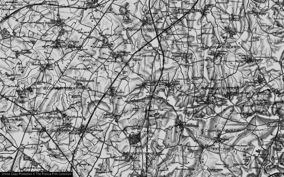 Old Map of Dunton Bassett, 1898 in 1898