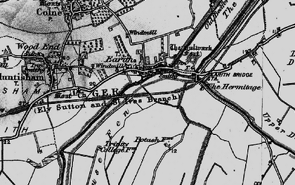 Old map of Earith in 1898