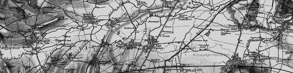 Old map of East Hanney in 1895
