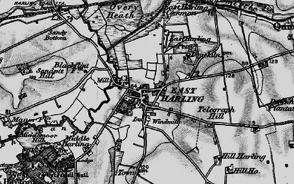 Old map of East Harling in 1898