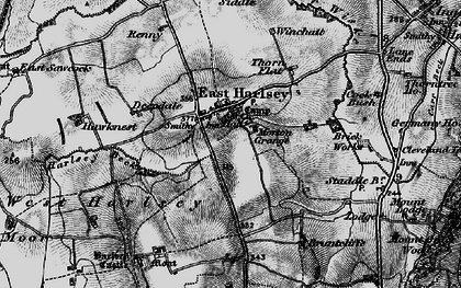 Old map of East Harlsey in 1898