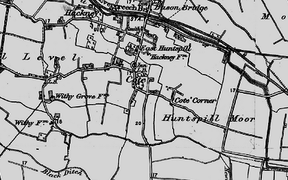 Old map of East Huntspill in 1898