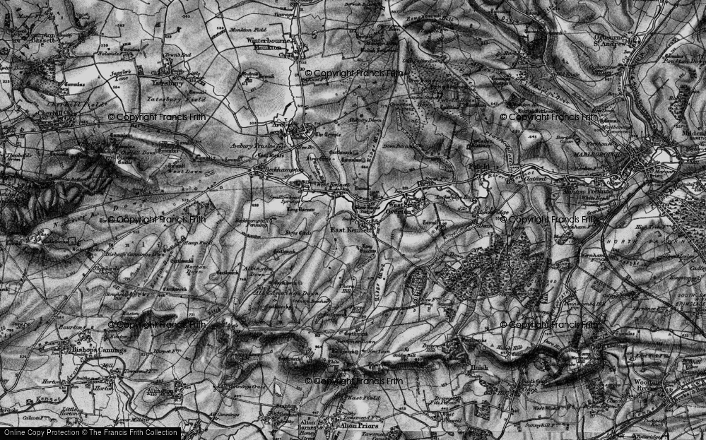 Old Map of Historic Map covering All Cannings Down in 1898