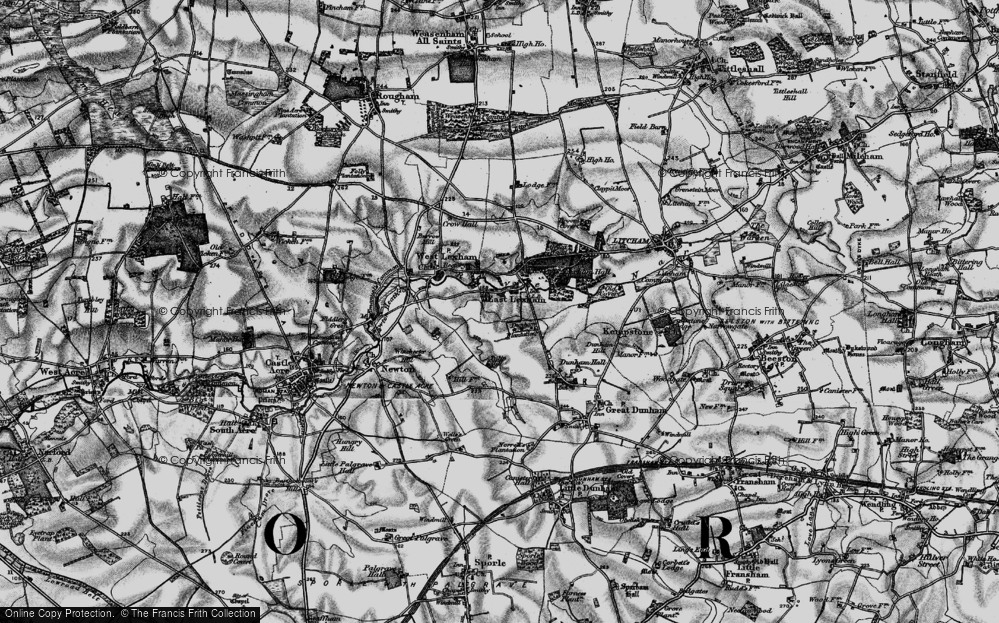 Old Map of Historic Map covering Lexham Hall in 1898